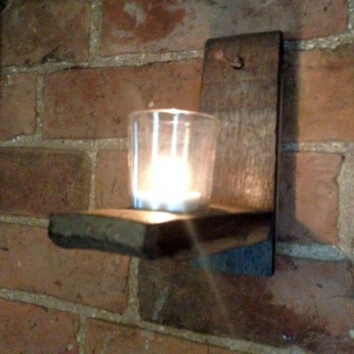 Single candle stave sconce short
